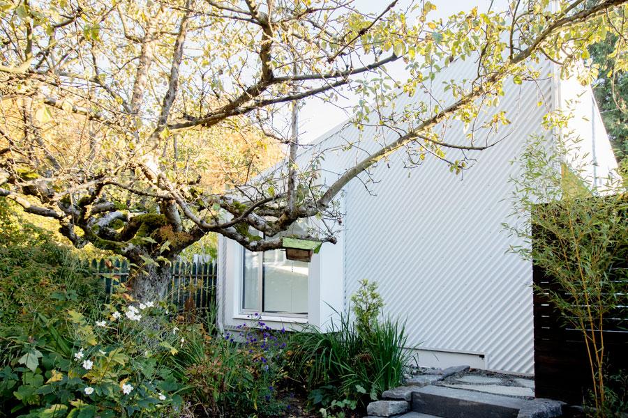 Serene private garden outside Uplift Studio in Vancouver, BC